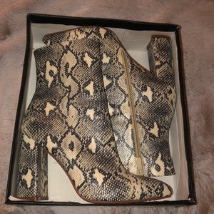 Faux Snakeskin Heeled Boots